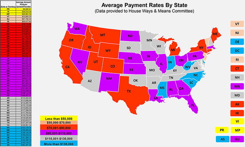 US Map - Average Payment Rates By State