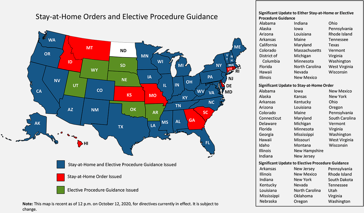Stay-at-Home Orders and Elective Procedure Guidance